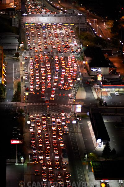 Aerial photograph of traffic entering the Holland Tunnel