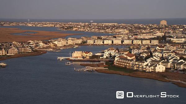 Past densely populated barrier islands off the New Jersey Coast, looking toward city of Brigantine. Shot in November
