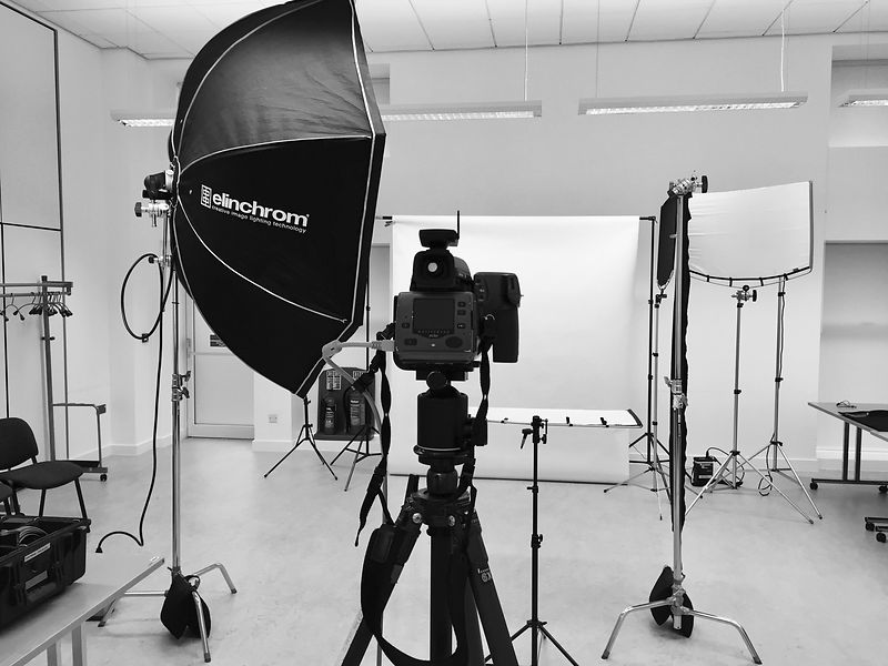 BTS setup for corporate headshot photography session, Cardiff.
