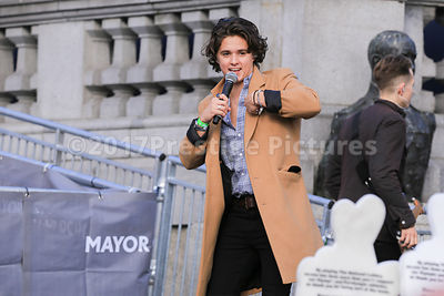 The Vamps lead singer Bradley Simpson on stage in Trafalgar Square