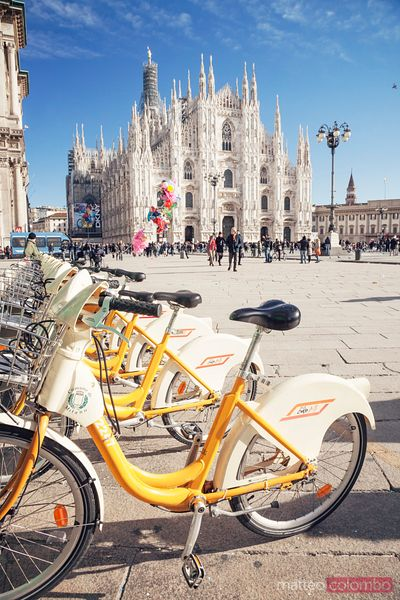 Bicycles near the Duomo Milan Italy