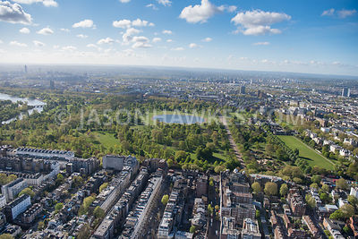 Aerial view of Bayswater Road and Kensington Gardens, London.