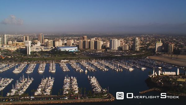Skyline of Long Beach, California, With Marina in Foreground.