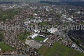 Oldham aerial photograph of  the area surrounding Oldham Football Stadium and the Royal Oldham Hospital looking towards Oldha...