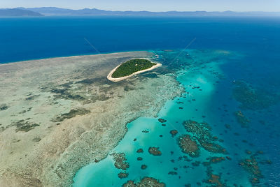 Aerial view of Green Island, on the Great Barrier Reef, Queensland, Australia