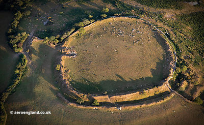 Bury Castle Iron Age Hillfort near Cardinham Cornwall  aerial photograph