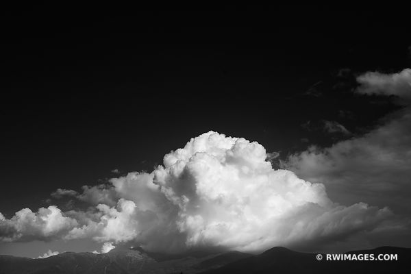 MOUNT WASHINGTON IN CLOUDS WHITE MOUNTAINS NEW HAMPSHIRE BLACK AND WHITE