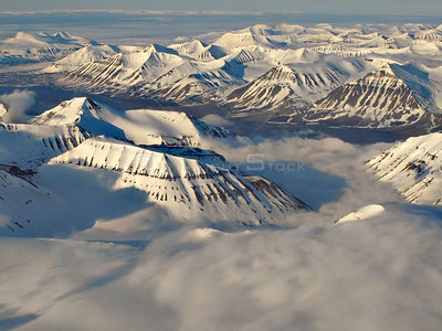Aerial view of mountains, Svalbard, Norway, June 2009