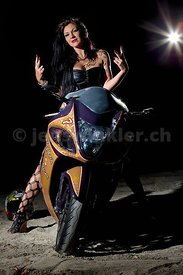 Desiree on her Hayabusa (fastest serial street bike), Louis Vuitton style air brushed..Light: Ranger Rx Speed AS,  21° with g...