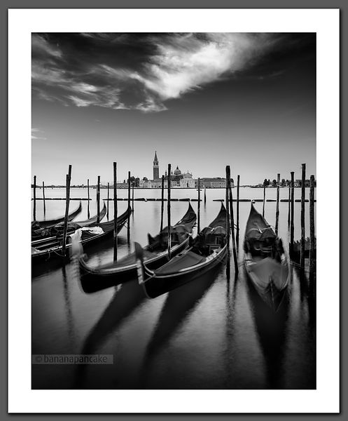 Gondolas, Venice - Black and White Print BP6633