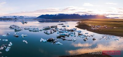 Pano drone view of Jokulsarlon lagoon at sunrise, Iceland
