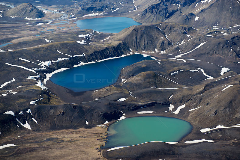 Aerial view of blue and green lakes in mountain landscape, Landmannalaugar, Iceland, June 2014.