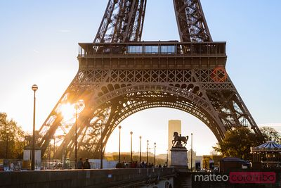 FIrst light on Tour Eiffel, Paris, France