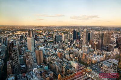 Melbourne city, elevated view at sunset, Victoria, Australia