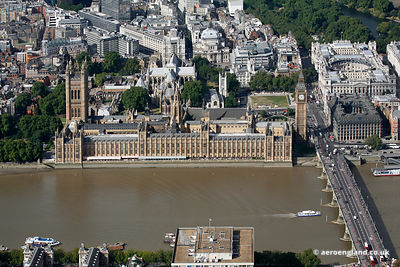 aerial photograph of the Houses of Parliament Westminster  London England UK SW1A 0AA including the House of Commons and the ...