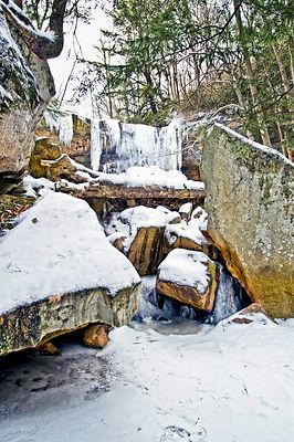 Cucumber Run Boulders in Winter- Ohiopyle, PA
