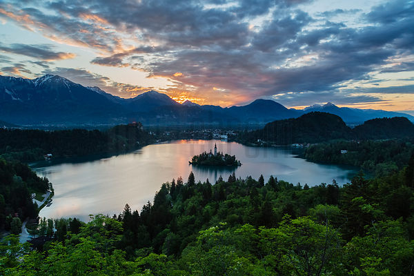 Elevated View of Lake Bled and the Church of the Assumption atr Sunrise