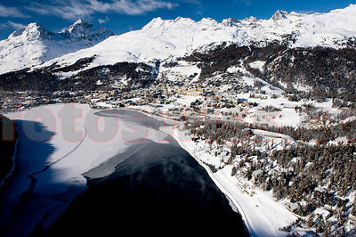 St. Moritz from the air in winter season 2009/2010