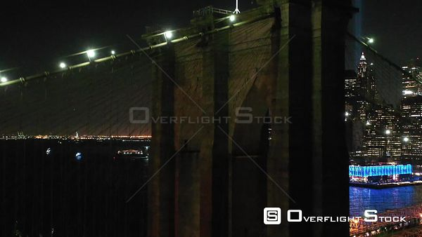 Night Drone Footage of Brooklyn Bridge and Lights of the Freedom Tower New York City