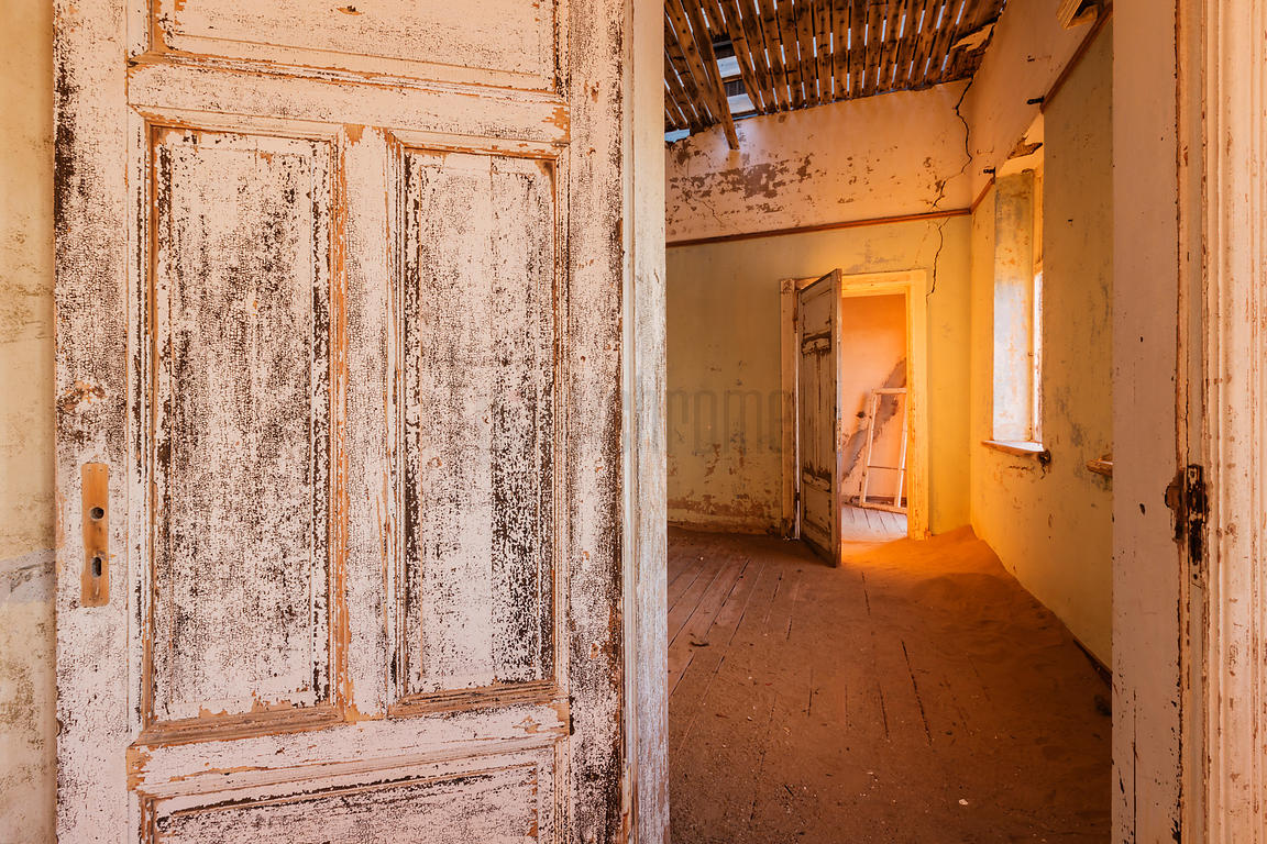 Interior of Abandoned House at Sunset.