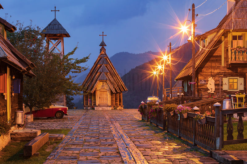 Drvengrad Wooden Church at Dusk