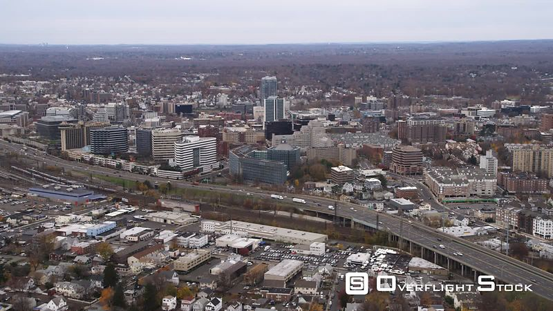Aerial view of Stamford, CT.