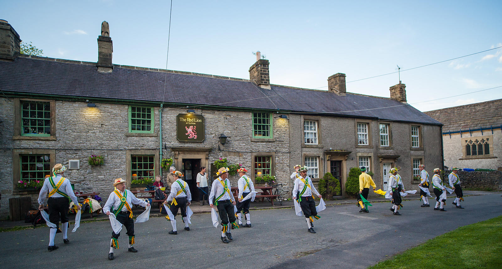 Morris dancers outside the Red Lion in Litton