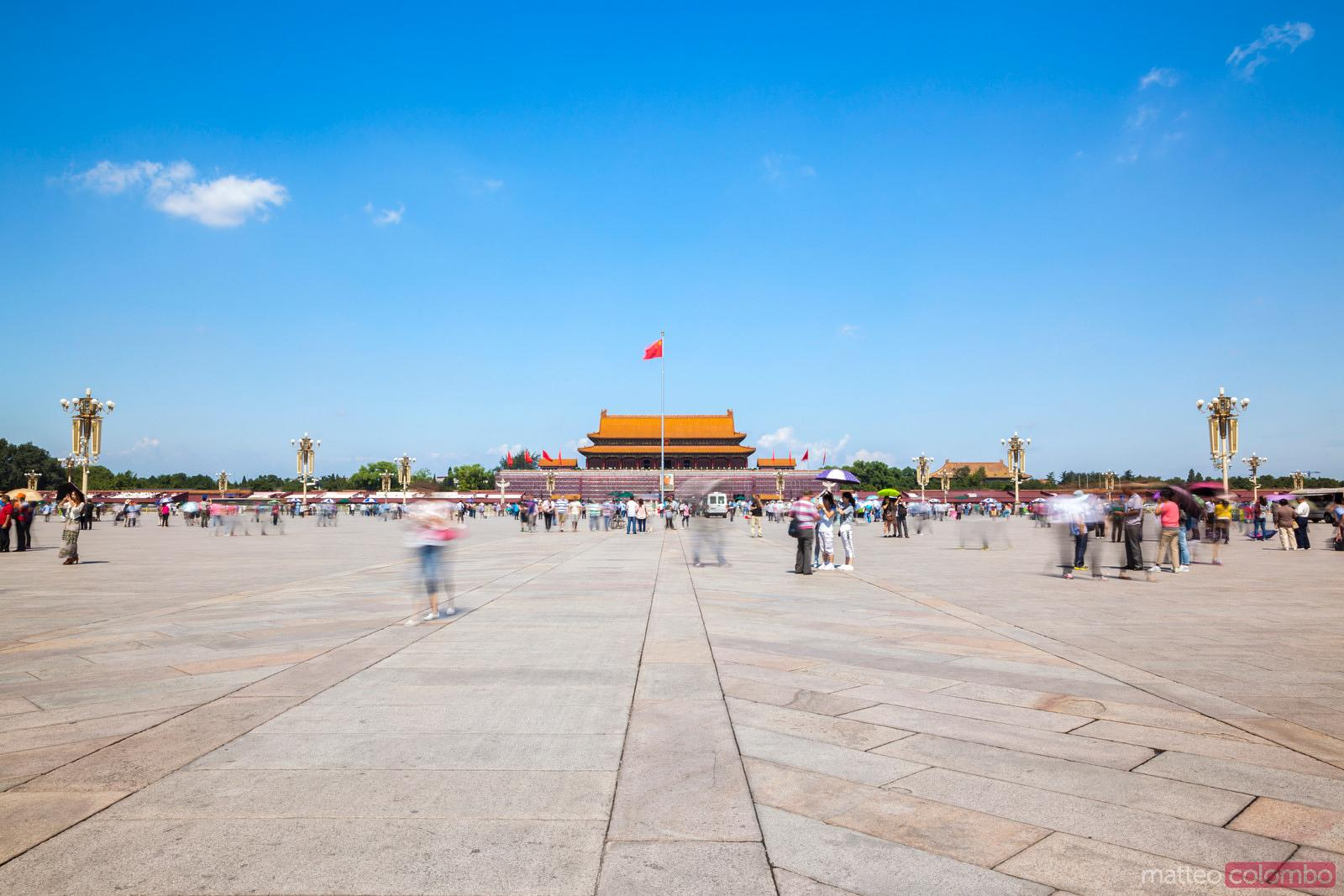 The red flag in Tiananmen square, Beijing