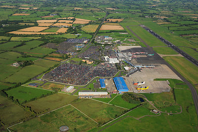 Aerial view of Belfast Aldergrove International Airport, County Antrim, Northern Ireland, UK, September 2009