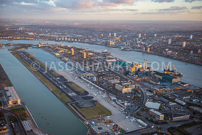 Aerial view of London City Airport, London.