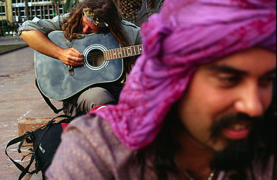 Canary Islands - Las Palmas - A musician plays guitar