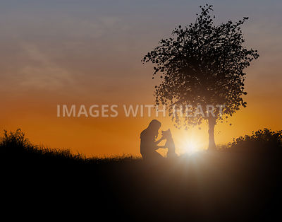 Woman And Dog In Field at Sunset