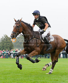 Harry Dzenis and DROMGURRIHY BLUE - cross country phase,  Land Rover Burghley Horse Trials, 6th September 2014.