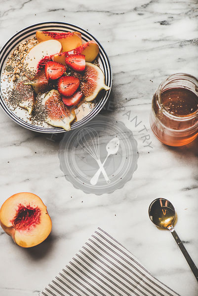 Healthy breakfast with yogurt, fruits and honey, copy space