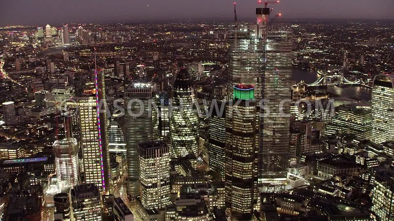 Night aerial footage of the City of London, London