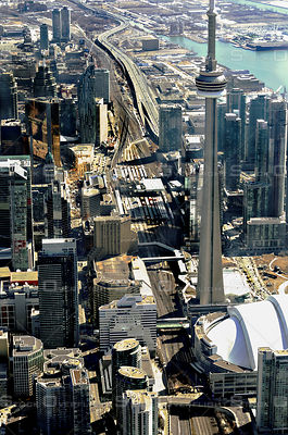 Downtown Core of the City of Toronto with the CN Tower and Gardiner Expressway