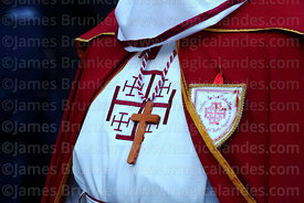 Detail of cross worn by member of the Order of Knights of the Holy Sepulchre during Good Friday procession, La Paz, Bolivia