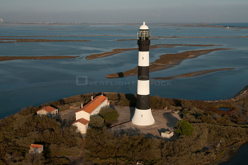 Aerial view of Faraman Lighthouse, Camargue, Southern France, September 2008