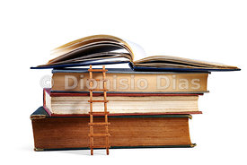 Stack of ancient books with small ladder symbolizing search for knowledge isolated on white background