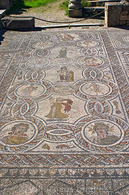 4 Seasons mosaic in the House of Dionysus, Volubilis, Morocco; Portrait
