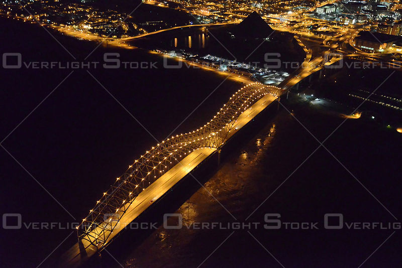 Night Aerial Photo of the Hernando Desoto Bridge across the Mississippi River in Memphis, Tennessee