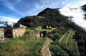 Entrance to main plaza of Inca site of Choquequirao, Peru