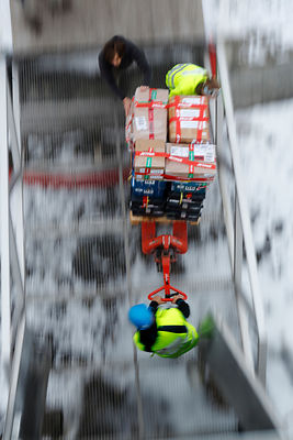 Transport of newly arrived seed samples being transported into vault, Svalbard Global Seed Vault, Svalbard, Norway. October 2...