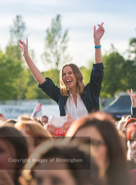 A woman in a crowd at a music concert.