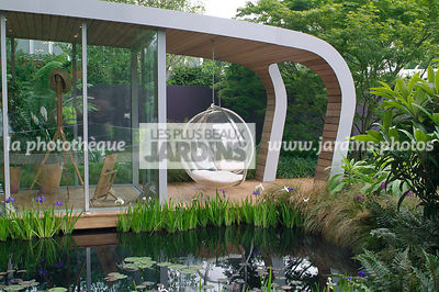 Aquatic garden, Bizarre, Chair, Contemporary garden, Garden furniture, Pool, Resting area, Digital, Summer, Veranda