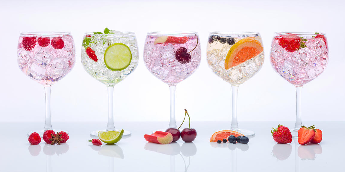Different type of Gin glasses in a row