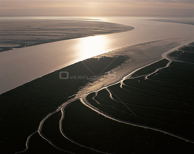 Aerial view of the Upper Gulf and Colorado Delta Biosphere Preserve, El Golfo, Baja California, Mexico