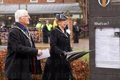 Man and Woman Striding to the Richard III reinterment  service