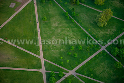 Aerial view of paths through Hyde Park, London