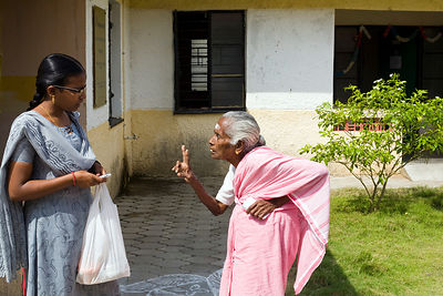 India - Cuddalore - Lakshmi, an elderly resident scolds a social worker